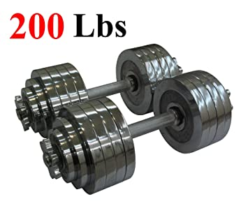 e029f073981 One Pair of Adjustable Dumbbells Chrome Plated Metal Total 200 Lbs (2 X 100  Lbs