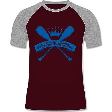 Wassersport - Paddelkönig - S - Burgundrot/Grau meliert - L140 - Herren  Baseball Shirt