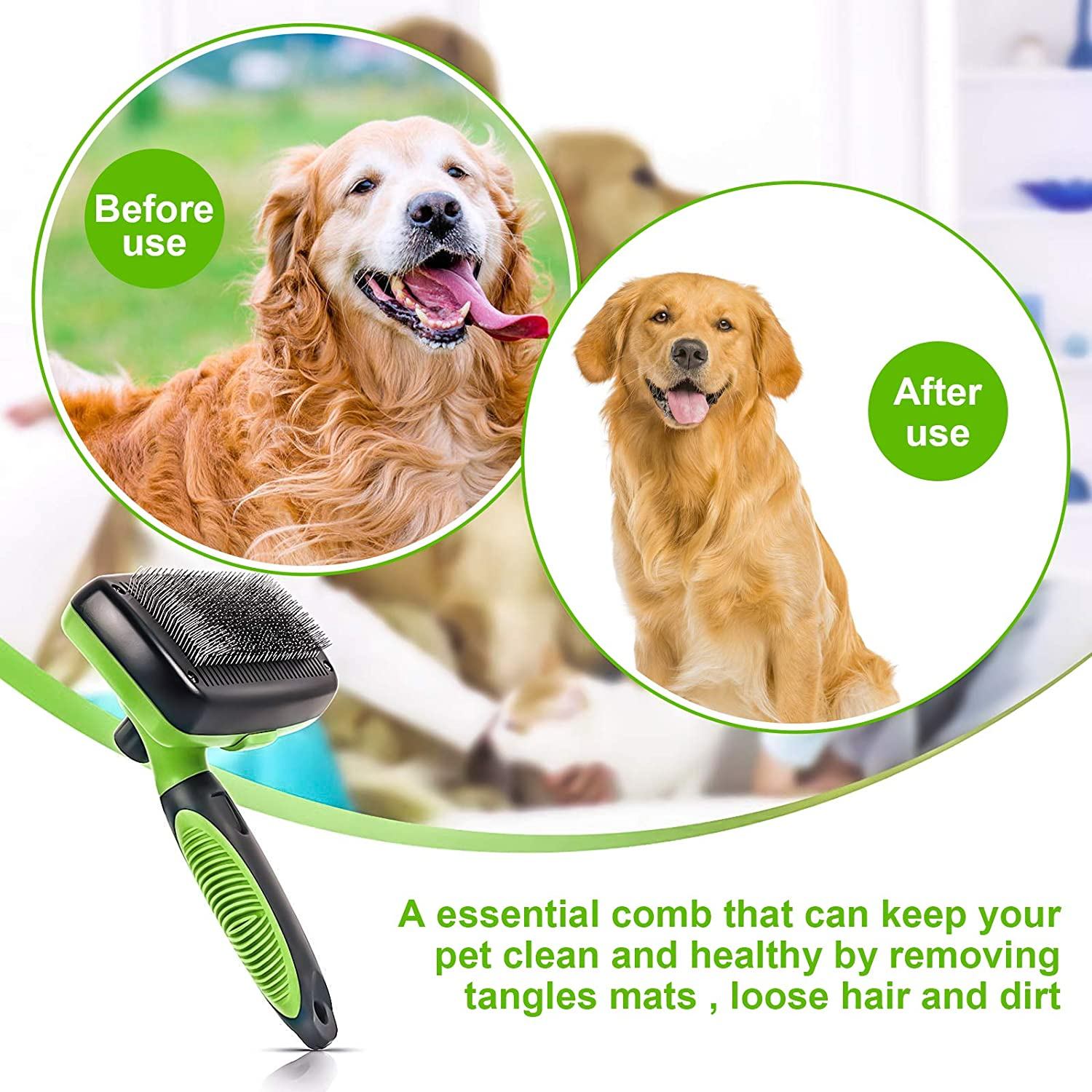Pecute Slicker Dog Brushes,Self Cleaning Pet Grooming Brush Removes 90/% of Dead Undercoat and Loose Hairs,Suitable for Medium and Long Haired Dogs Cats,With pet grooming gloves