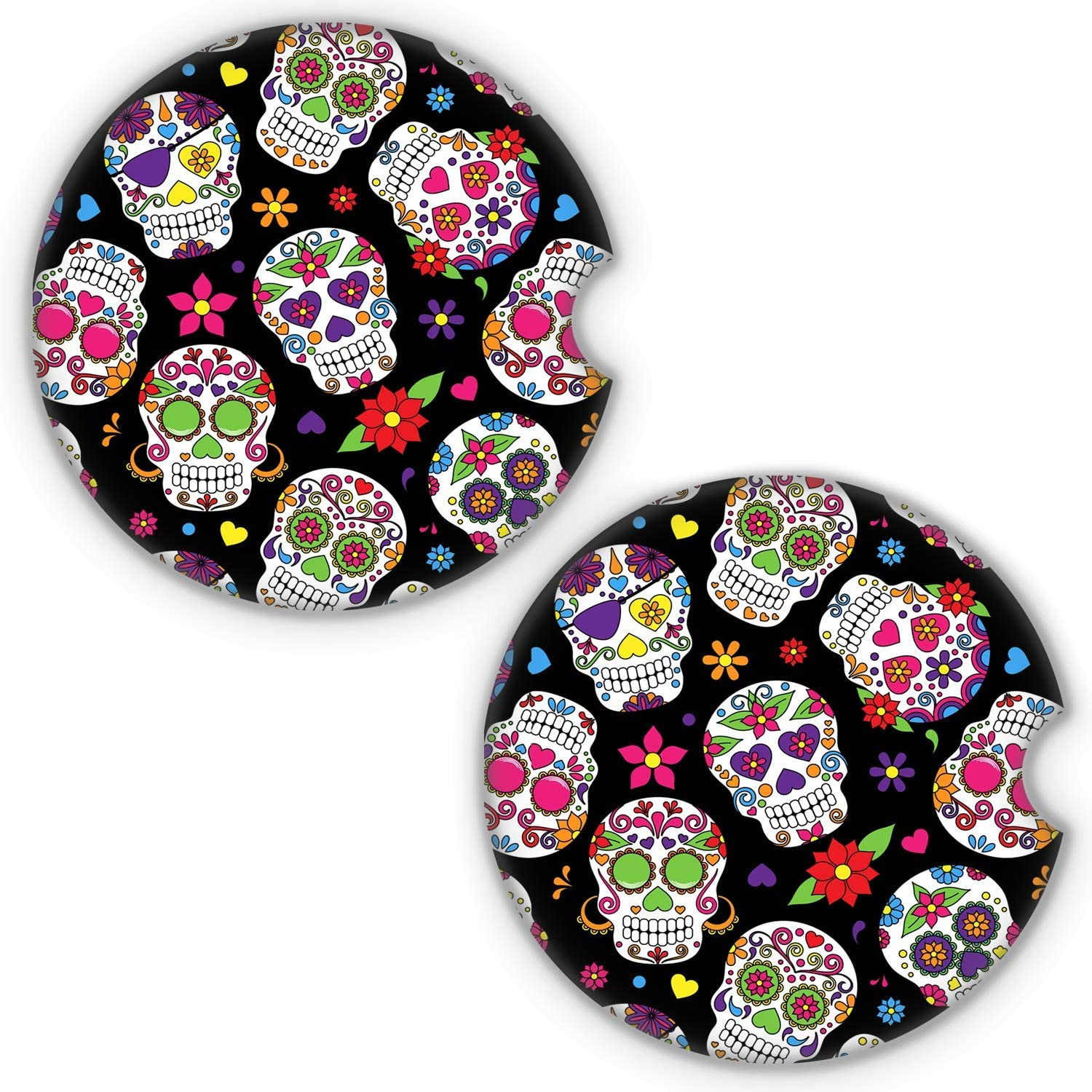LANEABUY 2PCS 2.56 Inch Car Absorbent Ceramic Coasters for Drinks Cup Coaster Car Cup Pad Mat Car Accessories for Car Decor - Dead Sugar Skull Floral