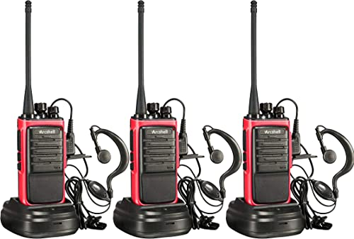 Arcshell Rechargeable Long Range Two-Way Radios with Earpiece 3 Pack Walkie Talkies UHF 400-470Mhz Li-ion Battery and Charger Included