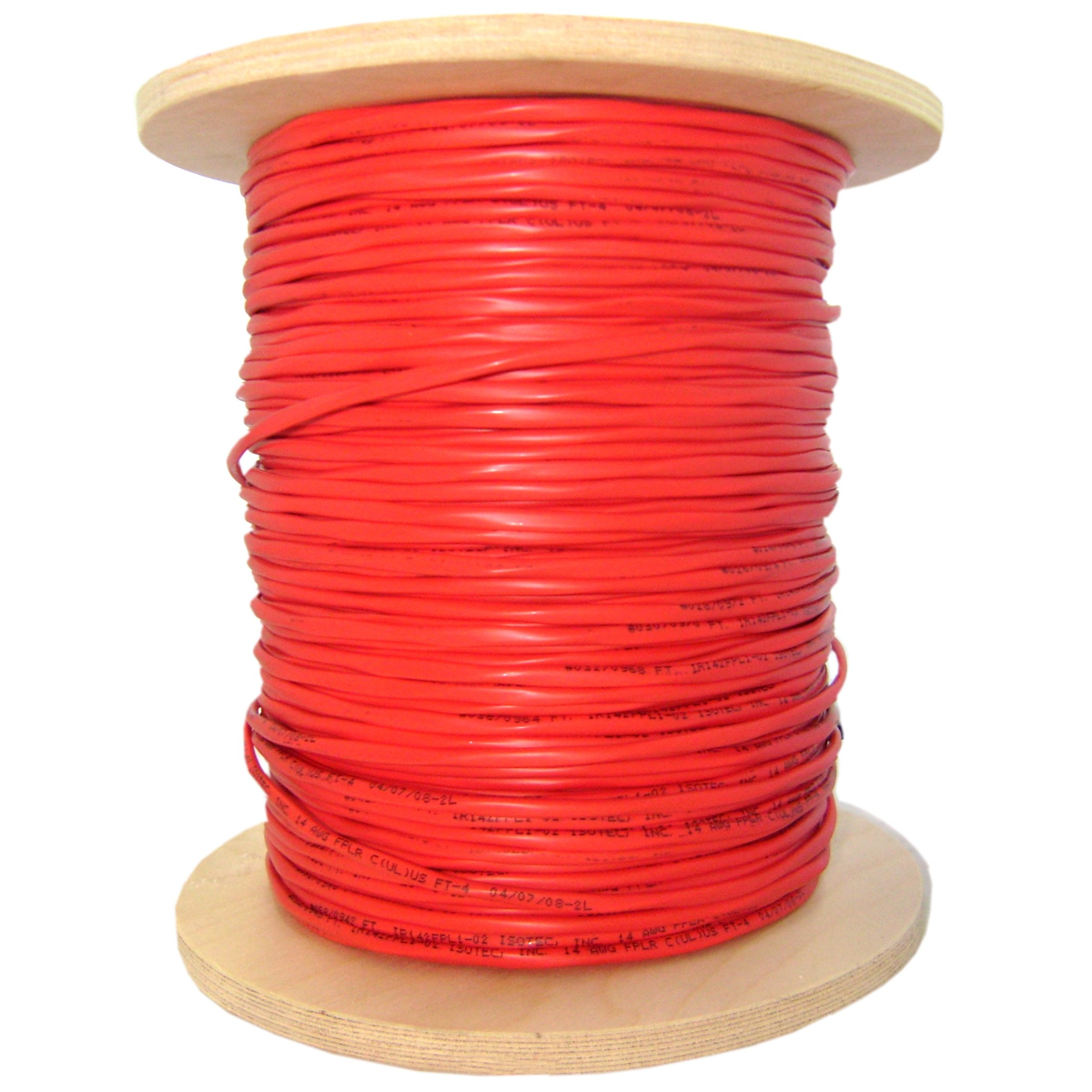 Fire Alarm / Security Cable, Red, 16/4 (16 AWG 4 Conductor), Solid, FPLR, Spool, 1000 foot - Shielded Signal Alarm Sound Wire Coaxial Audio Video Copper Power Cord