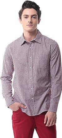 Pau1Hami1ton Camisa de Cuadros de Manga Larga para Hombre P-13A