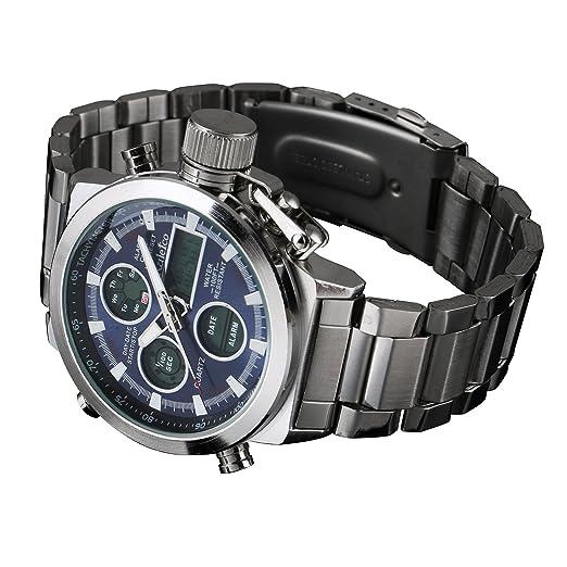 Para Hombre Cuarzo Reloj Digital Correa Acero Inoxidable Línea Negro Luz Plata Hombre Fecha: Amazon.es: Relojes