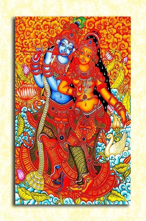 Tamatina God Wall Poster - Radha Krishna Love - Traditional