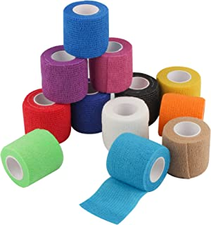 12 Pack Self Adherent Cohesive Wrap Bandages 2 Inches X 5 Yards, First Aid Tape, Elastic Self Adhesive Tape, Athletic, Sports wrap Tape, Bandage Wrap for Sports, Wrist, Ankle (Rainbow Color)