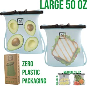 Reusable Silicone Food Storage Bags by Green OG | Perfect for Freezer Storage, Snack Storage | 100% LEAKPROOF Seal + Dishwasher Safe | Premium set of 2 Large, 50oz, Blue Bags