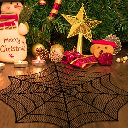 Aerwo Black Christmas Table Cloth Cover 30 Inch Spider Web Lace Round Table Topper For Christmas Table Decorations