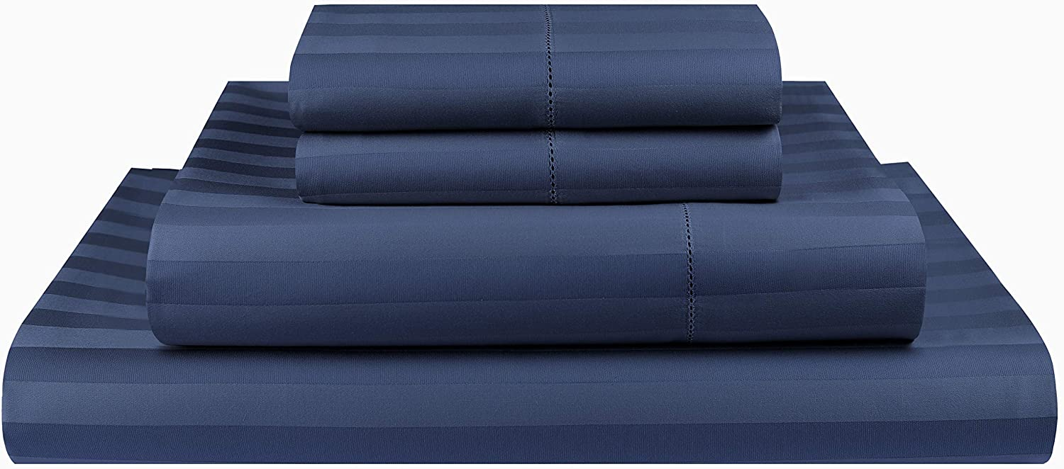 Threadmill Home Linen 500 Thread Count Queen Bed Sheets Set - 100% ELS Cotton Sheets for Queen Size Bed with Deep Pocket, Luxury Hemstitch 4 Piece Bedding Set, 2CM Damask Stripe Sateen, Folkstone Blue
