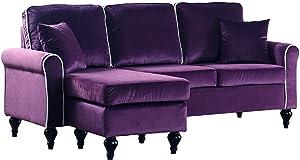 Divano Roma Furniture Madison Sectional, Purple