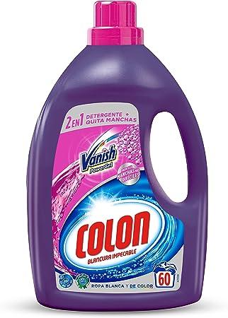 TALLA 60 dosis. Colon Vanish Powergel - Detergente para lavadora con quitamanchas, adecuado para ropa blanca y de color, formato gel - 60 dosis