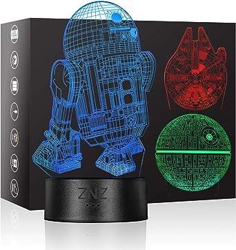 Todo para el streamer: 3D LED Star Wars Luz de noche, Lámpara de ilusión Death Star + R2-D2 + Millennium Falcon, Tres patrones y 16 colores Lámpara de decoración Cambio - Regalo perfectos para niño - 3 paquete           [Clase de eficiencia energética A+]