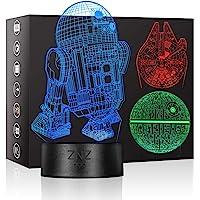 3D LED Star Wars Luz de noche, Lámpara de ilusión Death Star + R2-D2 + Millennium…