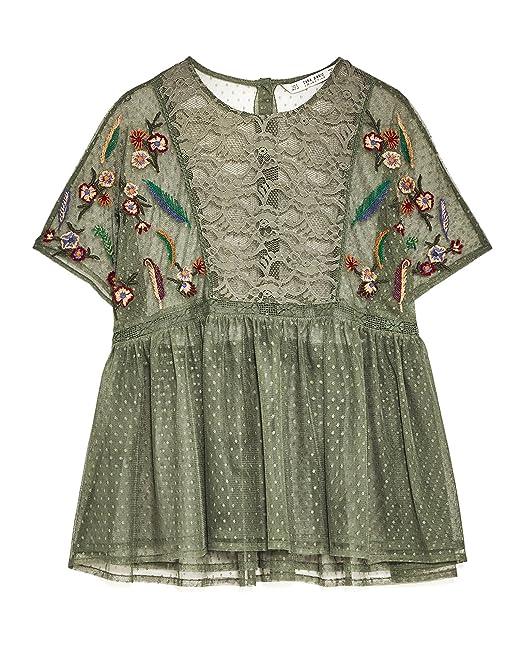 94680e21 Zara Women Embroidered plumetis blouse 5598/247 (Small): Amazon.ca ...