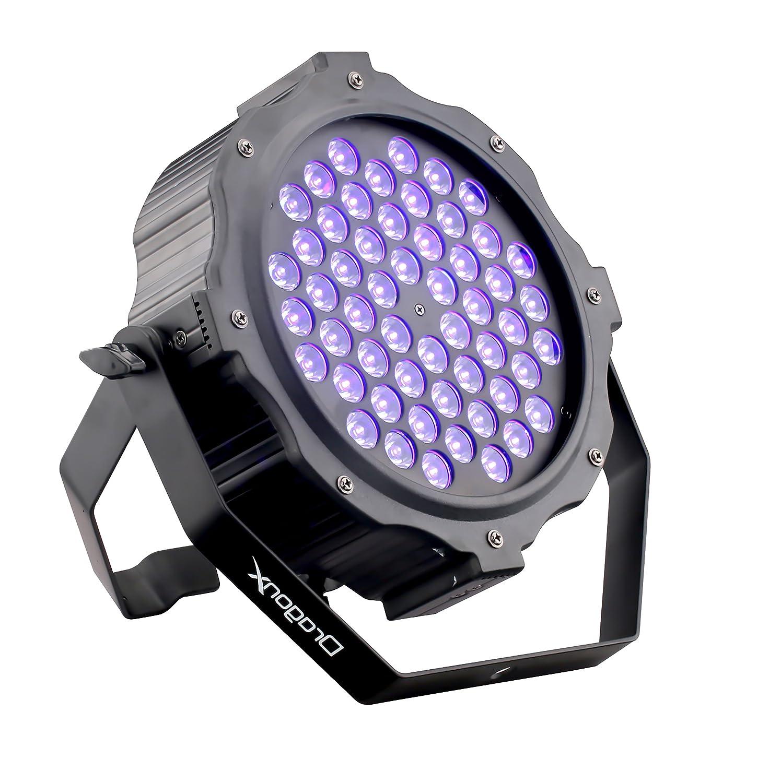 DragonX UV Light LED Halloween Black light Decor - LED 54x3W Par Can Wash Light - Spooky UV Halloween Lights, Dimmable Strobe Ultraviolet Blacklight, Party Light Uplighting, DJ Stage Lights, DMX 512