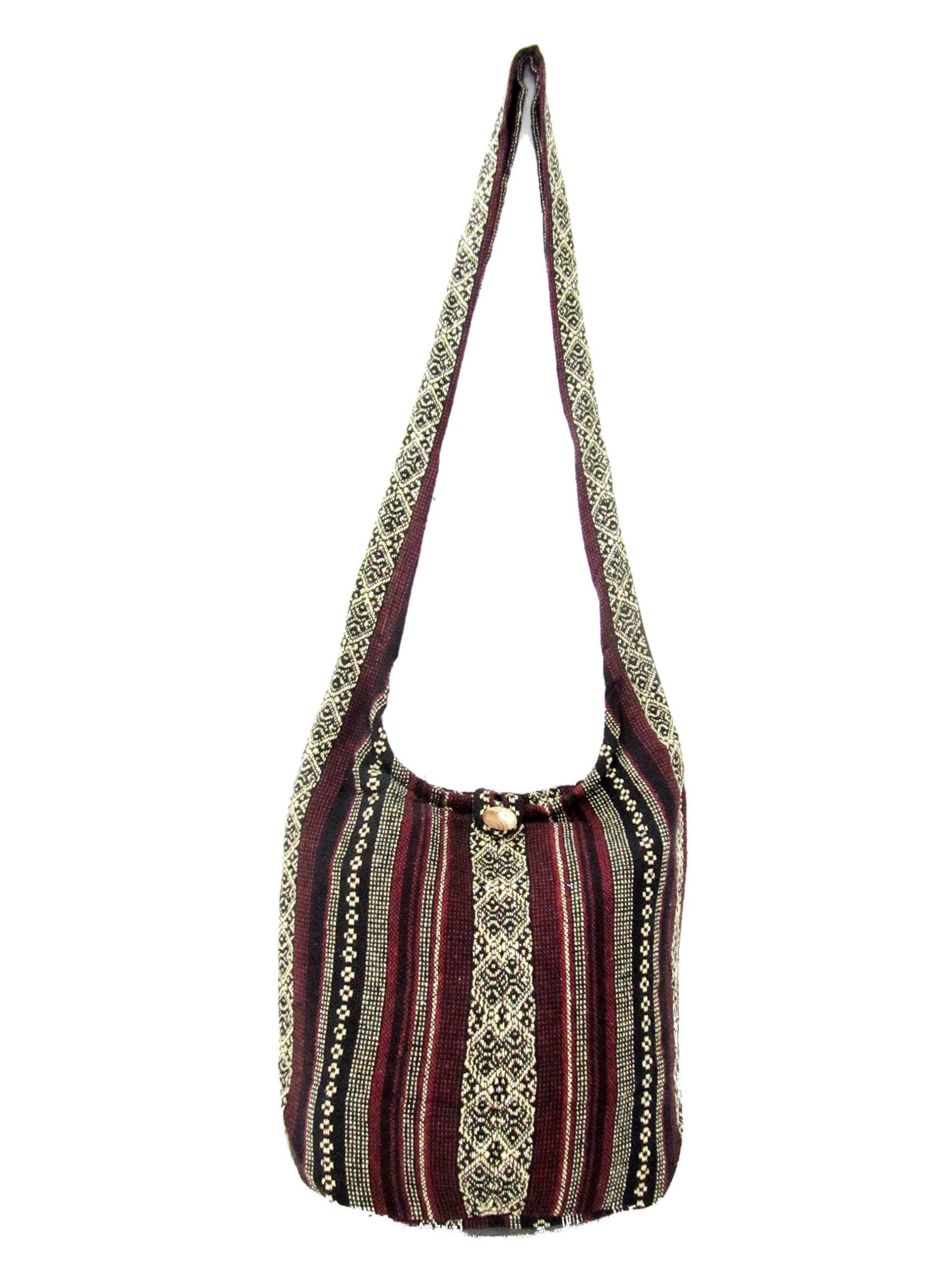 Aztec Yoga Bag Shoulder Crossbody for Women Bookbag for College Hippie Hobo Sling Messenger Medium (Yellow Maroon)
