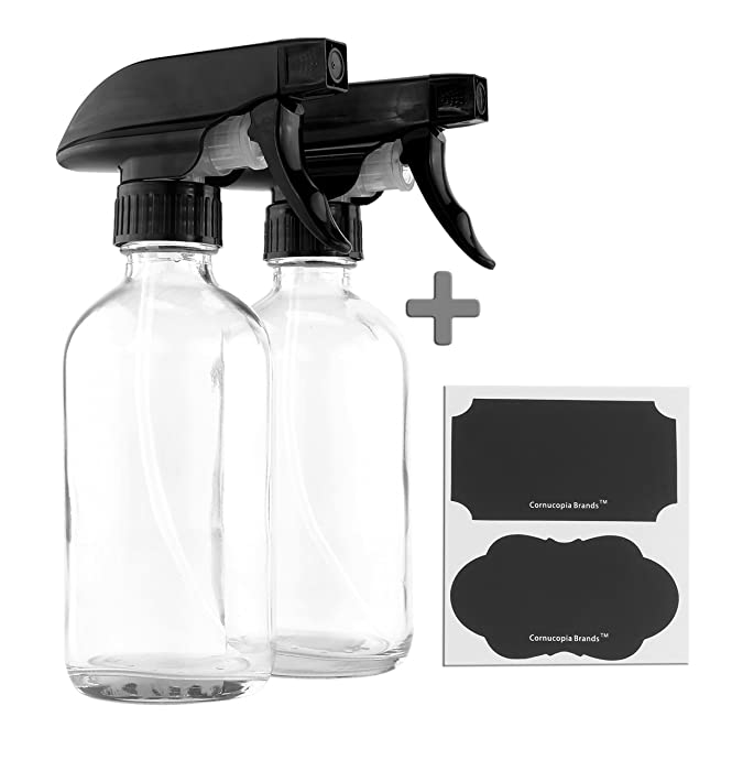 8-Ounce Clear Glass Spray Bottles (2-Pack); Boston Round Bottles w/ 3-Setting Adjustable Black Heavy Duty Sprayers & Chalk Labels