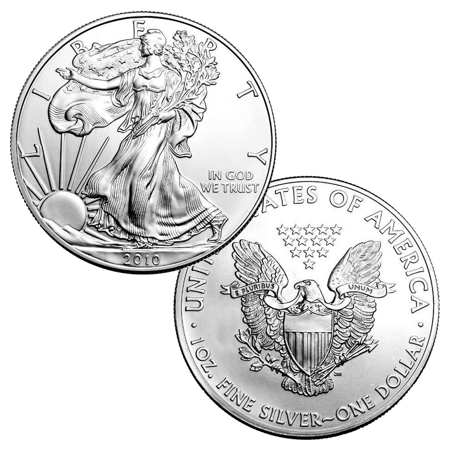Strong Strike US Mint Bright White 1992 American Silver Eagle Brilliant Uncirculated 1 ounce Fine Silver