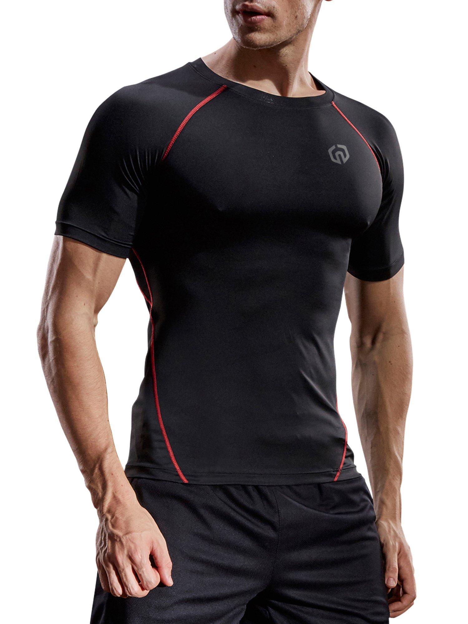Neleus Men's Compression Baselayer Athletic Workout T Shirts,5022,One Piece,Black(red Striped),US L,EU XL by Neleus