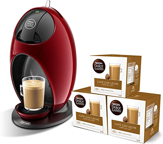 Pack DeLonghi Dolce Gusto Jovia EDG250.R - Cafetera de cápsulas, 15 bares de presión, color rojo + 3 packs de café Dolce Gusto Con Leche: Amazon.es: Hogar