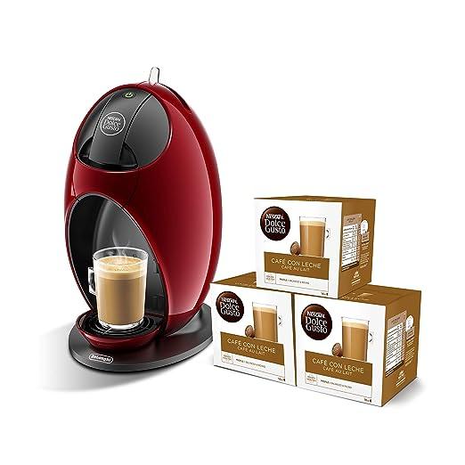 Pack DeLonghi Dolce Gusto Jovia EDG250.R - Cafetera de cápsulas, 15 bares de presión, color rojo + 3 packs de café Dolce Gusto Con Leche