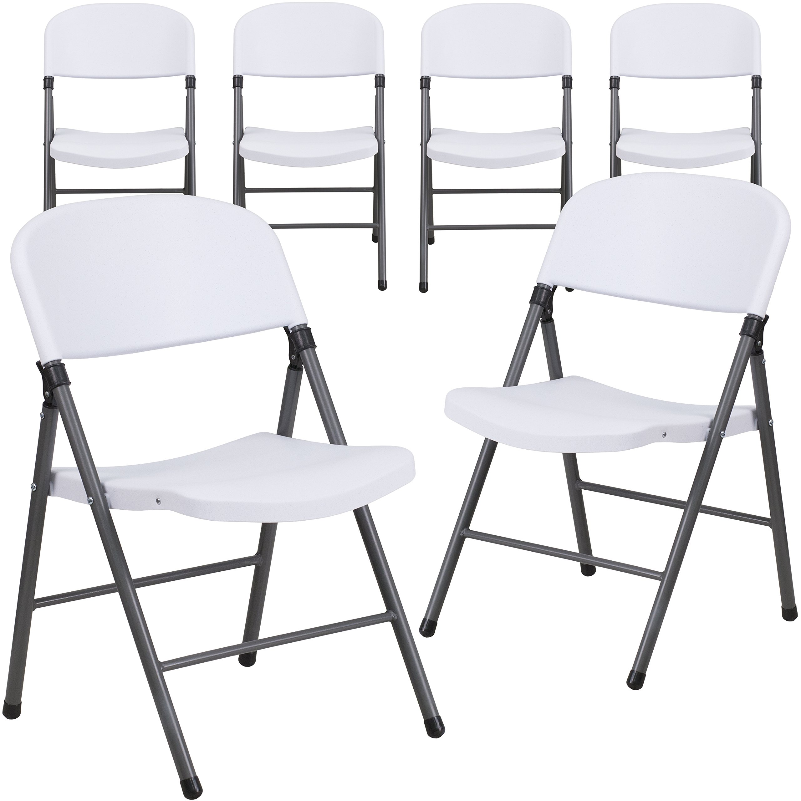 Flash Furniture 6 Pk. HERCULES Series 330 lb. Capacity Granite White Plastic Folding Chair with Charcoal Frame by Flash Furniture