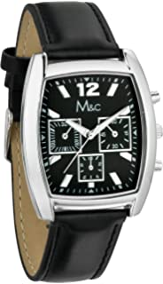 Mens Watches by M&C - Black Racer PU Leather Chronograph Watch - Make Every Second Count