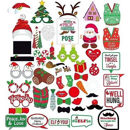 Amazon.com: Christmas Photo Booth Props Sign Kit for Funny Christmas ...