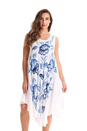 1b99083ee3c42 Riviera Sun White Sleeveless Summer Dress with Hand Painted Design ...