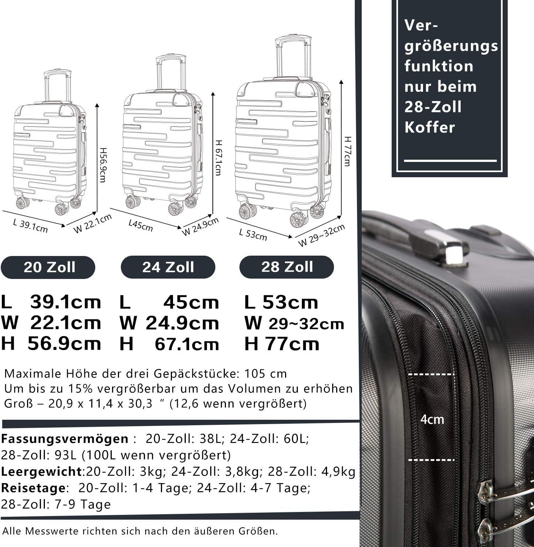 - ZY-EJ-0826-25 argent/é Colife Valise rigide /à roulettes avec serrure TSA et 4 roulettes Argent/é