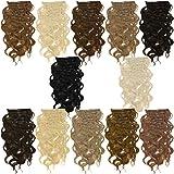 Clip In Extensions 55 cm gewellt - Haarverlängerung 7 Haarteile Komplettset - Farbe Blond