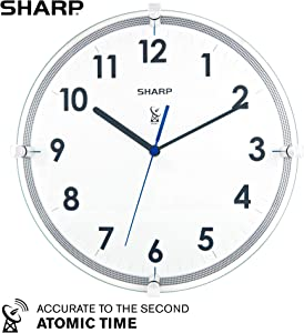 "Sharp Atomic Analog Wall Clock – 10.5"" Suspended Glass Face Atomic Clock - Sets Automatically - Easy to Read – Updates Automatically to Time Zone and for Daylight Savings"