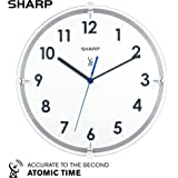 "Sharp Atomic Analog Wall Clock – 10.5"" Suspended Glass Face Atomic Clock - Sets Automatically - Easy to Read – Updates…"