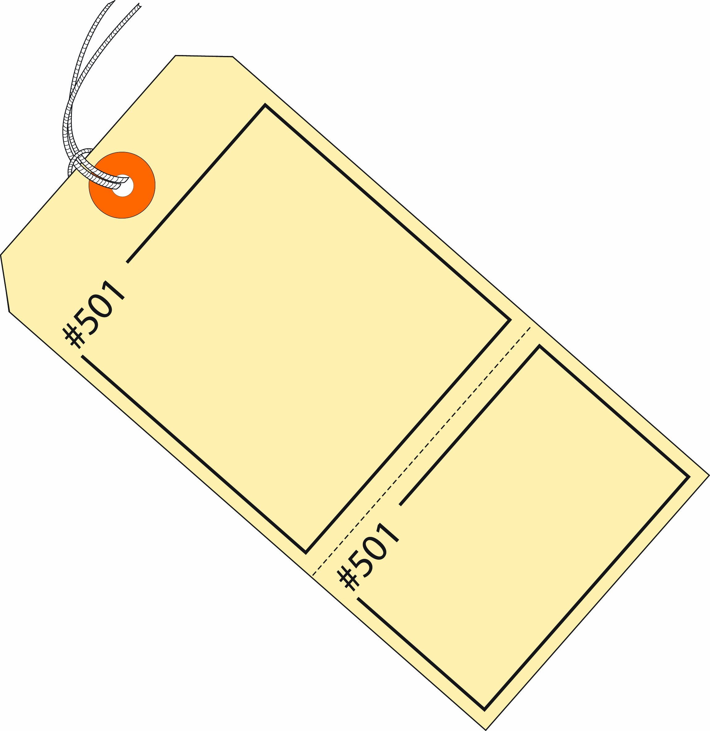 Aviditi G26210 Manilla Claim Tags Consecutively Numbered - Pre-Strung, 4 3/4'' x 2 3/8'' (Pack of 1000)