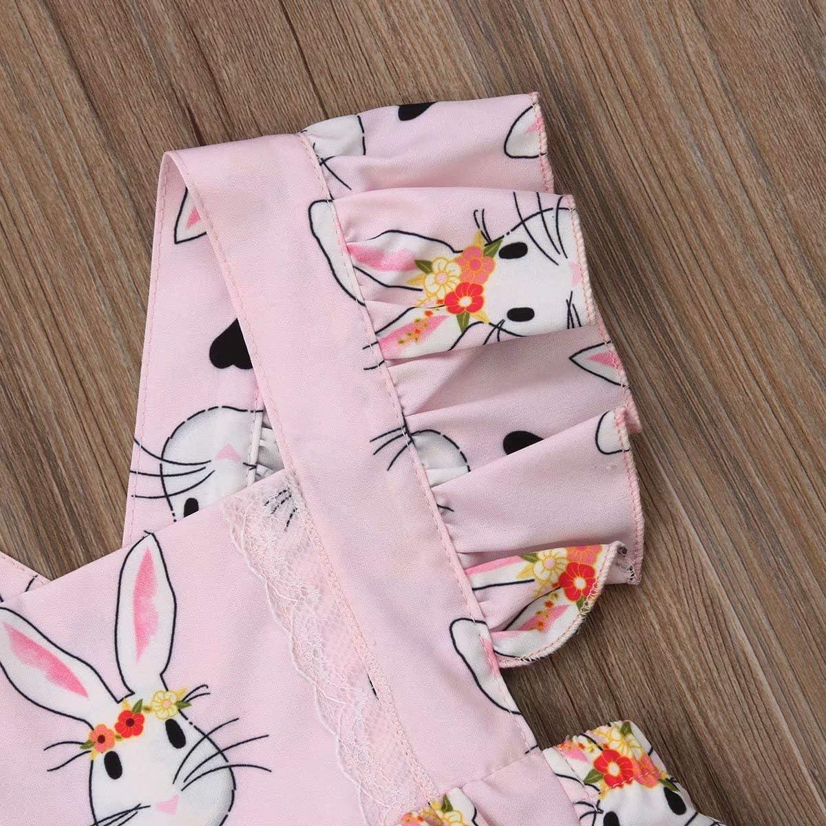 Geagodelia Newborn Infant Baby Girls Summer Easter Bodysuit Rabbit Romper Ruffled Sleeveless Backless Pink Jumpsuits