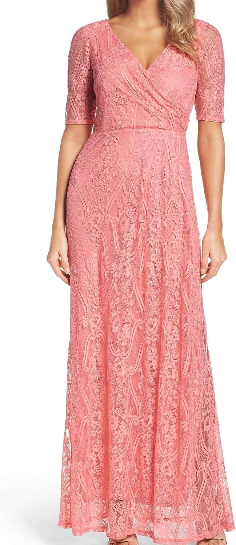 ELLEN TRACY Womens Lace Overlay Surplice Formal Dress Pink 8