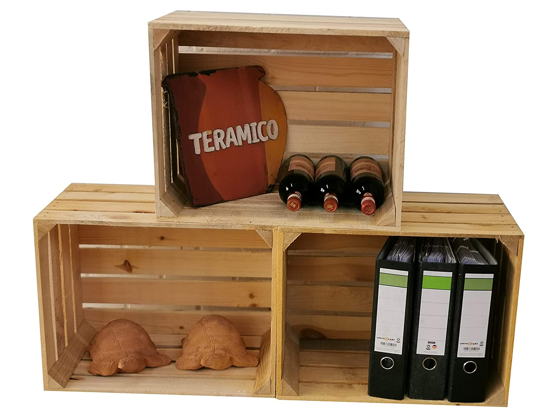 Teramico - Cajas de Madera para Frutas, Color Natural y Flameado, Juego masivo de moldes Florales XXL, Madera, Neu Natur, Set de 3