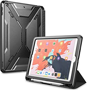 SUPCASE UB Series Case Designed for iPad 9.7, with Built-in Screen Protector Slim Trifold Folio Cover with Auto Sleep/Wake for Apple iPad 9.7 inch 2017/2018 Compatible with Apple Pen (Black)