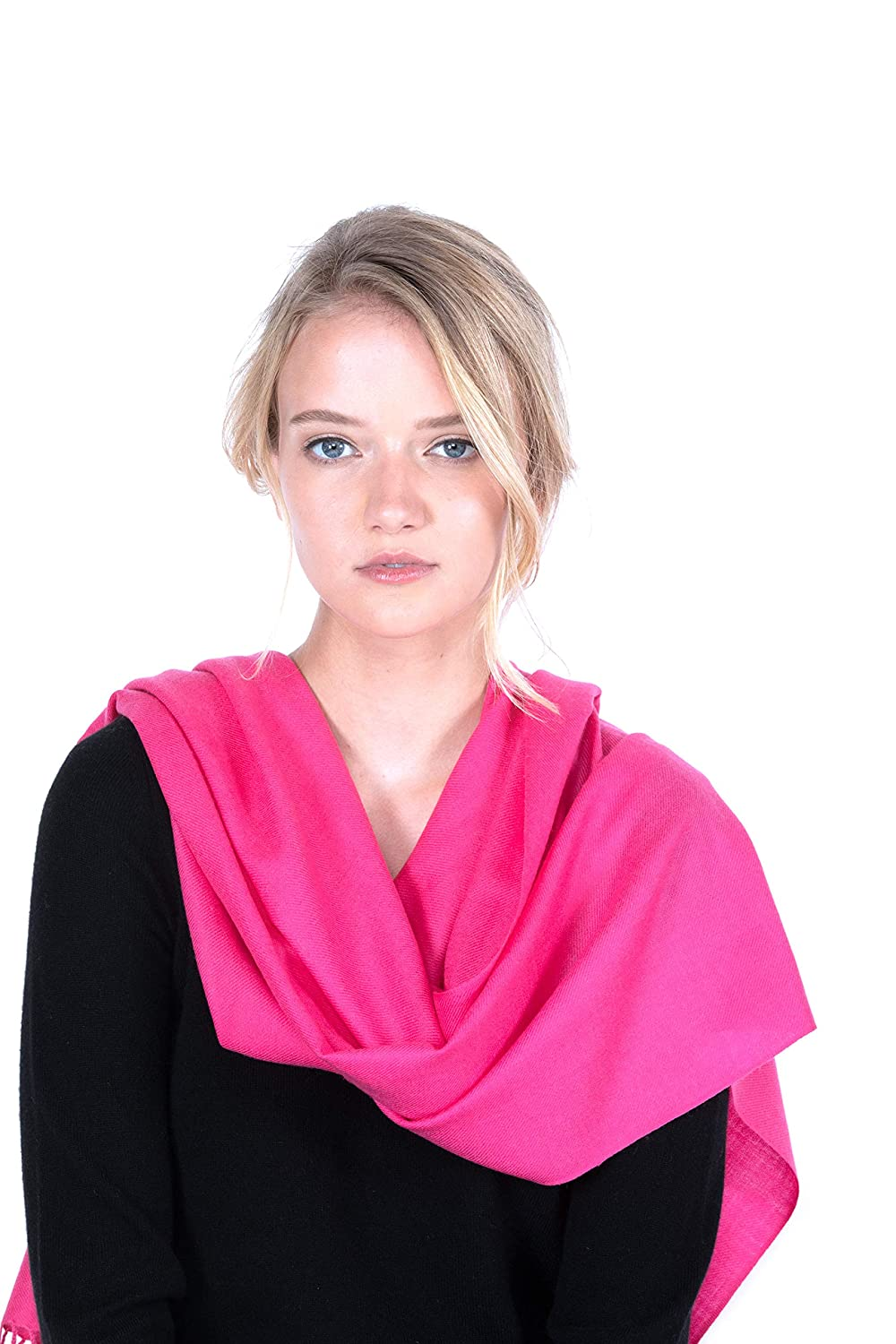 Hot Pink JENNIELIU Women's 80  X 28  Tissue Wight Wool Cashmere Wrap with 8 Luxury Designs hotpink