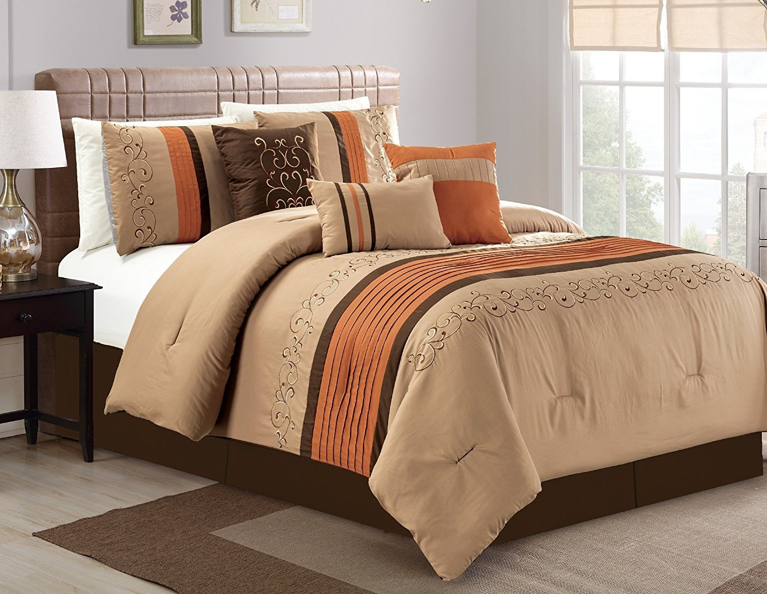 Luxlen 7 Piece Luxury Embroidered Bed in Bag Comforter Set, Oversized, Coffee, King