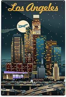 product image for Lantern Press Los Angeles, California, Retro Skyline (12x18 Aluminum Wall Sign, Wall Decor Ready to Hang)