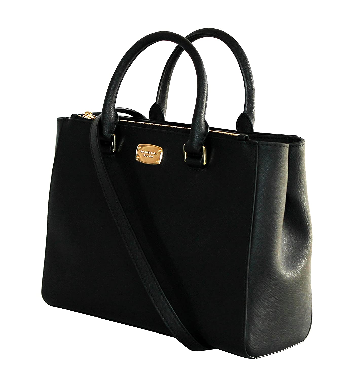 MICHAEL KORS WOMENS KELLEN MEDIUM SATCHEL LEATHER Shoulder Handbags  (BLACK): Handbags: Amazon.com