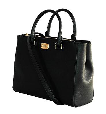 MICHAEL KORS WOMENS KELLEN MEDIUM SATCHEL LEATHER Shoulder Handbags (BLACK)