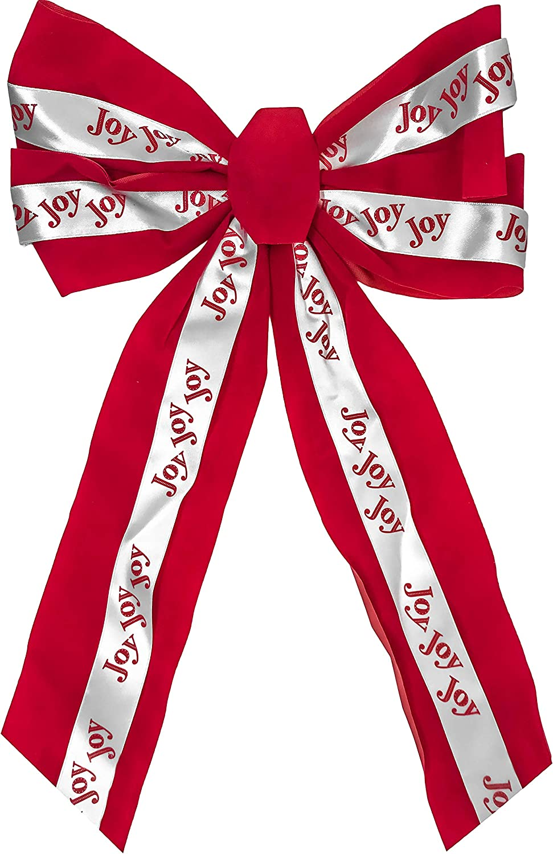 6 Or 12 Packs Joy Leaves- 3 Christmas Holiday Printed Velvet Bows HoHoHo