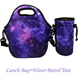 Amerzam Neoprene Lunch Bags, Waterproof Outdoor Travel Picnic Lunch Box Bag Tote with Zipper and Adjustable Crossbody Strap for Women Men Kids Girls Adults (Purple Stars Lunch Bag+Water Bottle Tote)