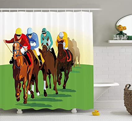 Horse Decor Shower Curtain By Colorful Competitive Scene With Jockeys And Racing Horses Equine Retro