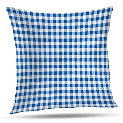 Tremendous Batmerry Gingham Pillow Covers 18X18 Inch Blue And White Checkered Fabric Design Double Sided Decorative Pillows Cases Throw Pillows Covers Ibusinesslaw Wood Chair Design Ideas Ibusinesslaworg