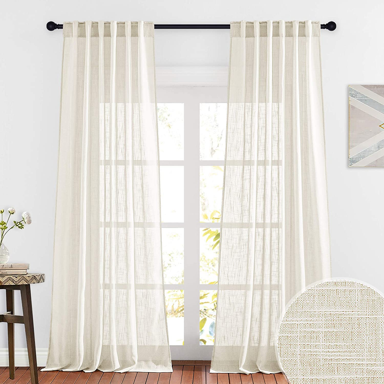 RYB HOME Semi Sheer Curtains, Linen Textured Privacy Light Filtering Panels for Bedroom Wall Backdrop for Weddings / Dining Area, Warm Beige, W 52 x L 95, Set of 2