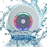 Youkiking スピーカー防水 Bluetooth4.3 吸盤式お風呂/アウトドア専用 高音質/充電式/軽量/防水/防塵 Bluetooth ワイヤレス スピーカー マイク搭載 (ホワイト)