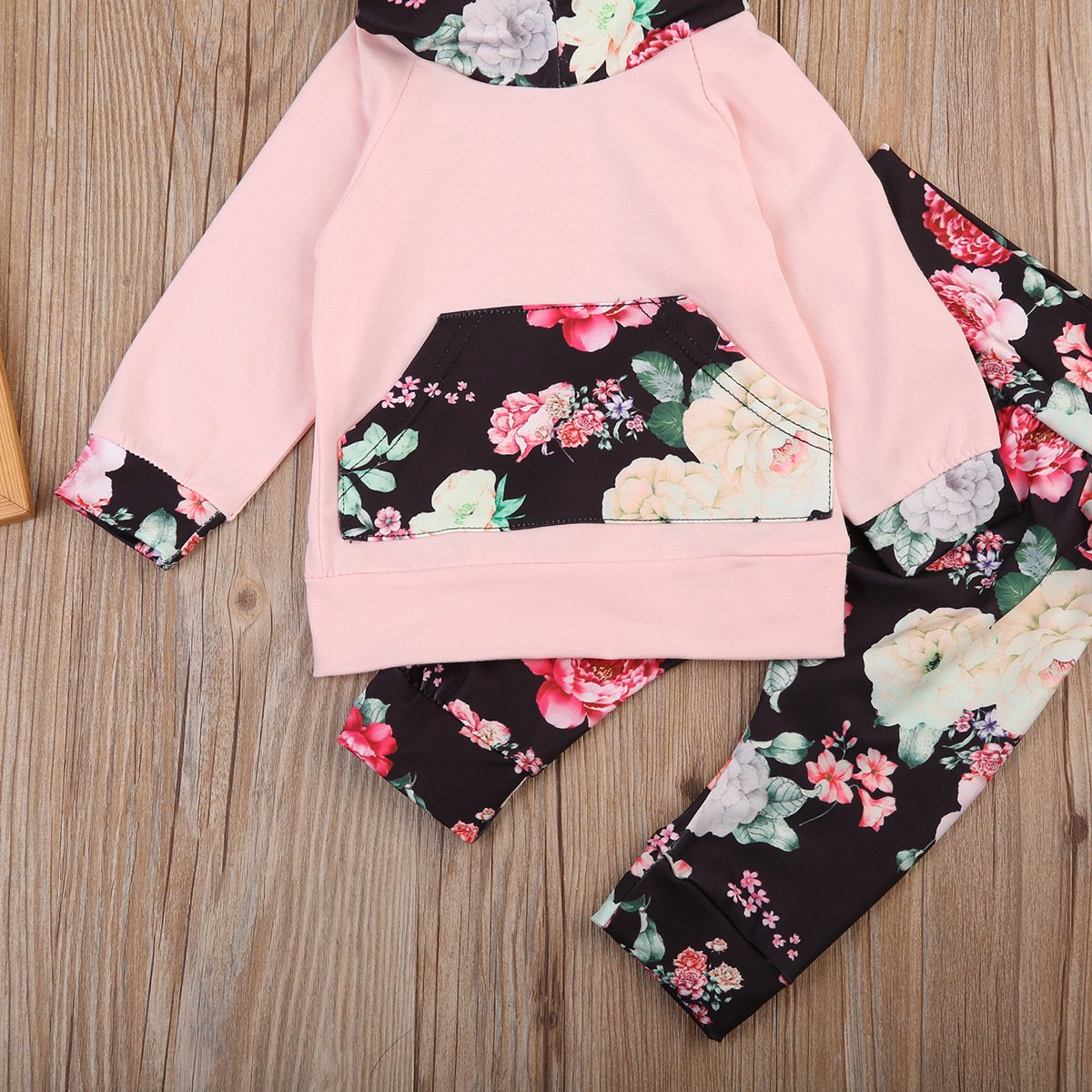 Newborn Baby Girl Winter Floral Hoodie Sweatshirt Long Flowers Pants Outfits Set with Pocket 0-24Months Clothes